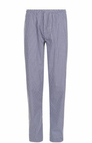 Хлопковые домашние брюки свободного кроя Zimmerli. Цвет: темно-синий