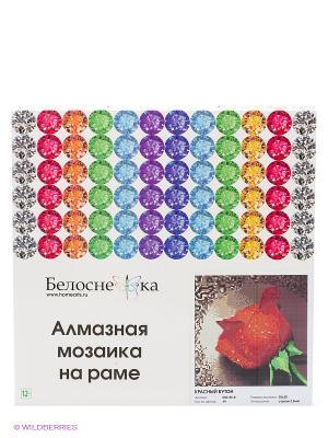 Стразы на подрамнике. Красный бутон (006-RS-R) Белоснежка. Цвет: белый