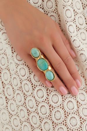 Кольцо из латуни с бирюзой Sylvia Toledano. Цвет: золотой, бирюзовый