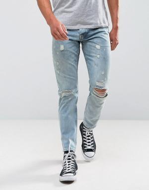 ASOS Светлые узкие рваные джинсы. Цвет: синий
