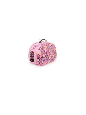 Переноска UP! прозрачная жесткая Флоренция для кошек и собак, 46*30*32 см. Цвет: розовый, черный, фиолетовый