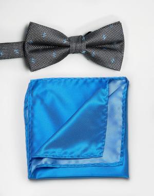 Selected Черный галстук-бабочка и голубой платок для нагрудного кармана Selecte. Цвет: черный