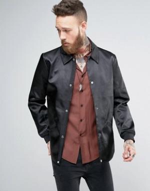 ASOS Черная спортивная куртка в строгом стиле. Цвет: черный