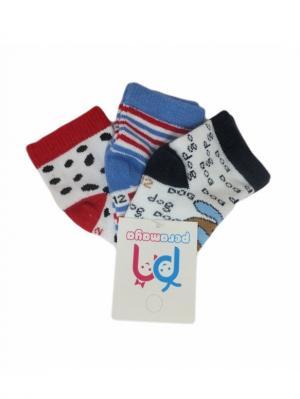 Носки детские, 3 пары PERA MAYA. Цвет: белый, голубой, красный