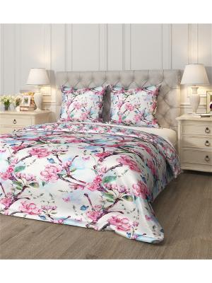 Комплект постельного белья Вишневый сад, семейный Сирень. Цвет: розовый, голубой