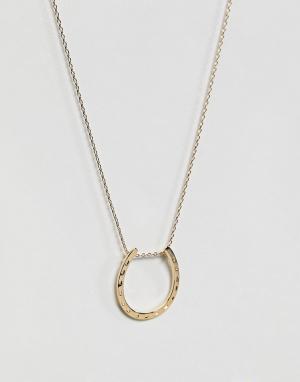Orelia Длинное ожерелье с подвеской-подковой. Цвет: золотой