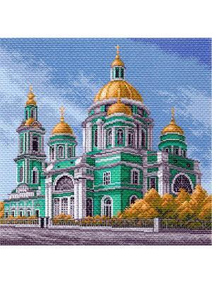 Рисунок на канве Елоховский собор в Москве Матренин Посад. Цвет: голубой, белый, бирюзовый, горчичный