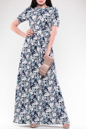 Платье Laura Bettini. Цвет: сине-белый, цветочный принт