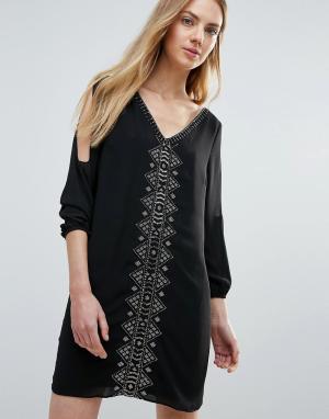 Greylin Цельнокройное платье с бисерной отделкой и вырезами на рукавах. Цвет: черный