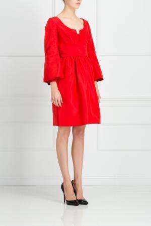 Шелковое платье Issac Mizrahi. Цвет: красный