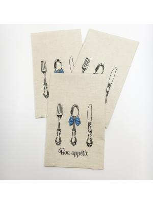 Набор-полотенец, 3 шт A and C Collection. Цвет: бежевый, белый, голубой