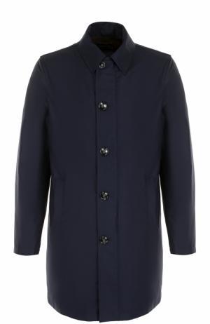 Шерстяное однобортное пальто на молнии с отделкой из натуральной кожи Kiton. Цвет: темно-синий
