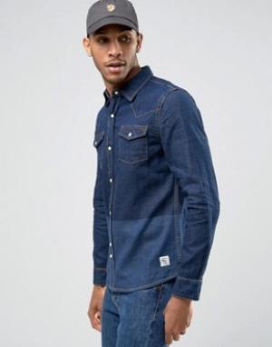 Bellfield Джинсовая рубашка с принтом колор блок. Цвет: темно-синий