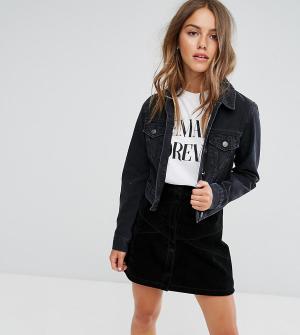 ASOS Petite Выбеленная черная джинсовая куртка. Цвет: черный
