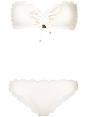 Scalloped strapless bikini set Marysia. Цвет: телесный