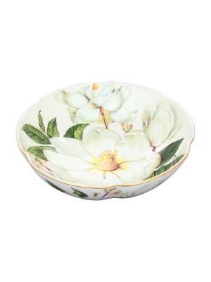 Конфетница-салатник Белый шиповник Elan Gallery. Цвет: белый, розовый
