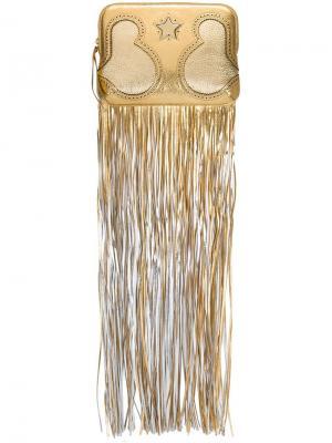 Клатч с бахромой The Volon. Цвет: металлический