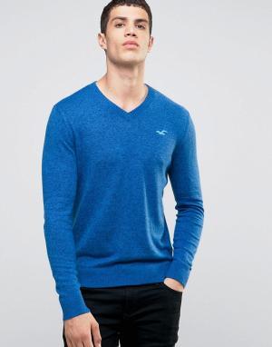 Hollister Ярко-синий трикотажный джемпер с V-образным вырезом. Цвет: темно-синий