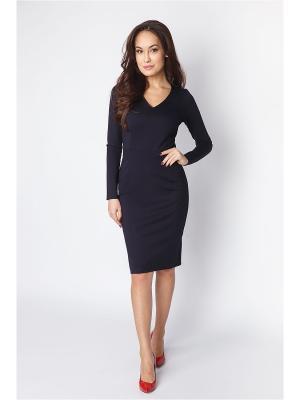 Платье синее трикотажное с v-образным вырезом Welldress