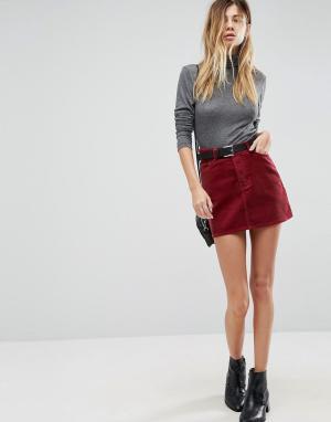 ASOS Вельветовая мини-юбка ягодного цвета. Цвет: красный