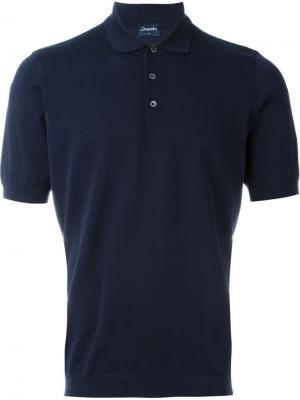 Классическая рубашка-поло Drumohr. Цвет: синий