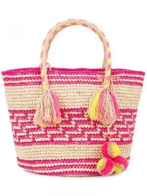 Плетеная сумка-тоут Simea Yosuzi. Цвет: телесный