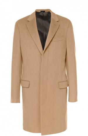 Шерстяное однобортное пальто с потайными пуговицами Lanvin. Цвет: бежевый
