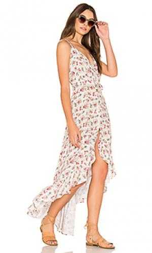 Цветочное платье в стиле 90-х roxy AUGUSTE. Цвет: розовый