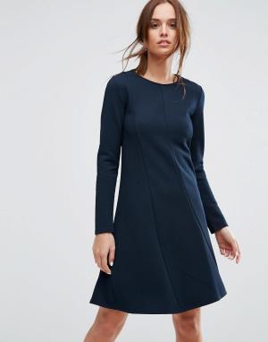 Selected Платье с длинными рукавами. Цвет: темно-синий