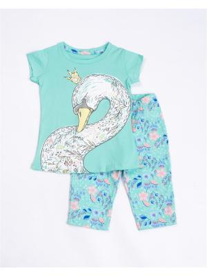 Пижама: футболка, бриджи Mark Formelle. Цвет: светло-зеленый, голубой, белый