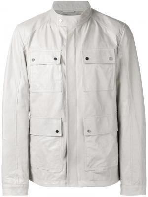 Кожаная полевая куртка Drome. Цвет: серый