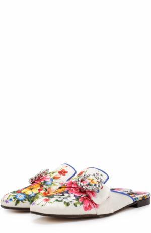 Парчовые сабо с цветочным принтом Dolce & Gabbana. Цвет: разноцветный