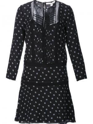 Полупрозрачное платье с принтом в горошек Veronica Beard. Цвет: чёрный
