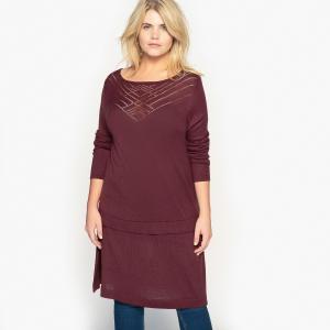 Пуловер длинный с круглым вырезом CASTALUNA. Цвет: сливовый