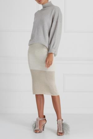 Трикотажная юбка с люрексом A LA RUSSE. Цвет: бежевый