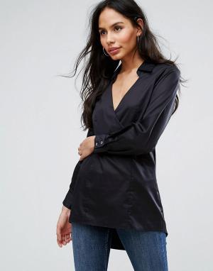 Closet London Рубашка с V-образным вырезом. Цвет: черный