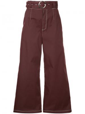 Джинсовые брюки-палаццо с контрастной строчкой G.V.G.V.. Цвет: красный