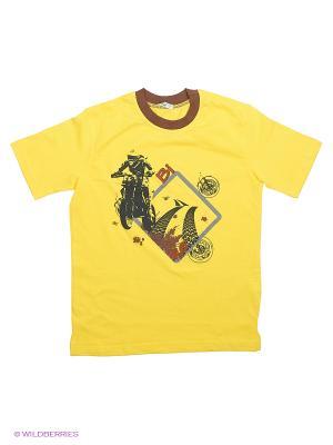 Футболка LIK. Цвет: коричневый, желтый