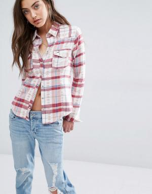 Hollister Клетчатая рубашка в стиле вестерн. Цвет: кремовый