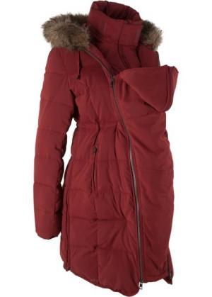 Мода для беременных и молодых мам: куртка с карманом-вкладкой малыша (красный каштан) bonprix. Цвет: красный каштан