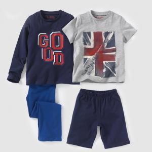 Комплект из 2 пижам, 2-12 лет R édition. Цвет: темно-синий + серый меланж