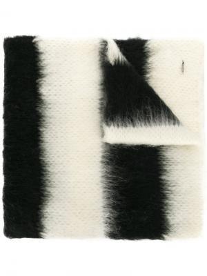 Полосатый трикотажный шарф Dondup. Цвет: белый