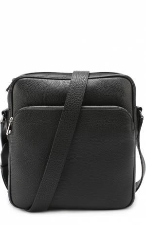Кожаная сумка-планшет с внешним карманом на молнии Bally. Цвет: черный