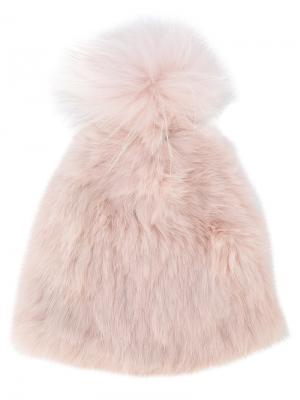 Шапка с помпоном Yves Salomon Accessories. Цвет: розовый и фиолетовый