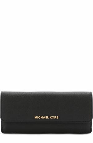 Кожаный кошелек с клапаном MICHAEL Kors. Цвет: черный