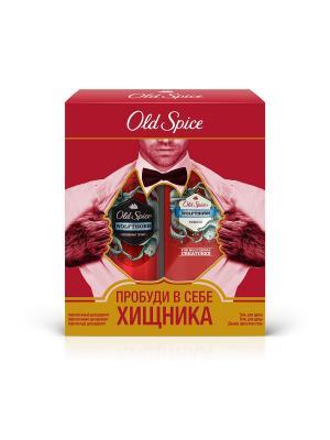 Подарочный набор Wolfthorn: аэрозольный дезодорант, 125мл + гель для душа, 250мл OLD SPICE. Цвет: красный