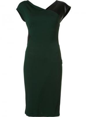 Платье-футляр с кожаной деталью Vionnet. Цвет: зелёный