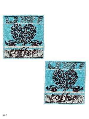 Набор Салфеток махровых пестротканых жаккардовых Кофе-сердце Авангард. Цвет: черный, голубой