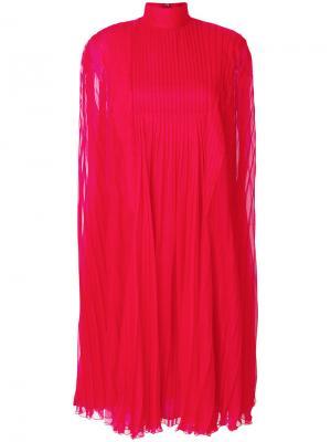 Длинное плиссированное платье Valentino. Цвет: красный