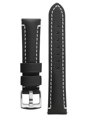 Классический ремешек для часов из кожи теленка. Ширина от 20 до 26 мм Signature. Цвет: черный